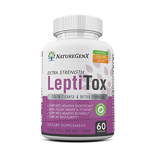 NatureGenX - LeptiToX Colon Cleanser & Detox for Weight Loss - Leptin Detox Cleanse Supplement for Body Cleanse - Naturall Diet Cleansing Detox Pills for Gas, Constipation & Bloating Relief - 60 Caps