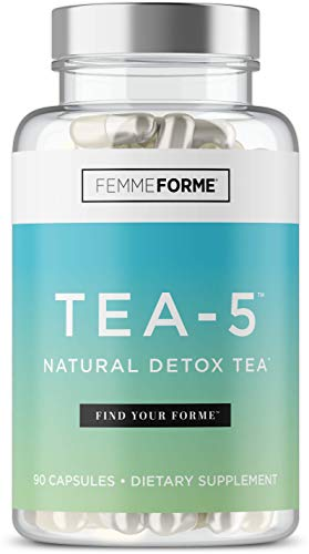 Tea-5 All-Natural Detox Supplement for Women: Herbal Detoxification with Curcuminoids, 5 Types of Tea to Boost Metabolism, Support Natural Energy, and Boost Gut Health, 90 Capsules