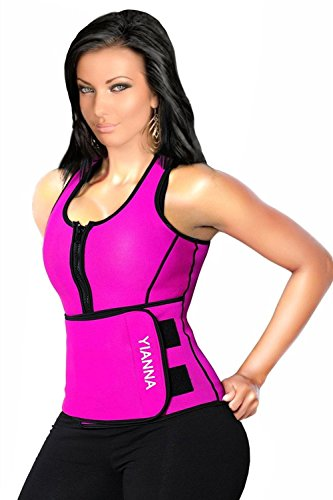 YIANNA Sweat Neoprene Sauna Suit - Waist Training Vest - Sauna Tank Top Vest with Adjustable Waist Trimmer/Shaper Trainer Belt for Weight Loss Plus Size Up to 5XL, YA8012-Rose-S