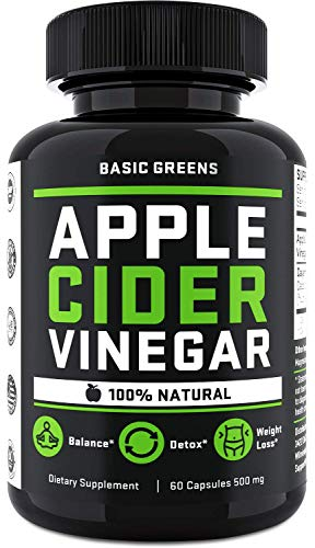Apple Cider Vinegar Pills for Weight Loss - ACV Capsules with Cayenne Pepper for Fast Weight Loss Cleanse (60 Capsules) Formulated in USA | Non-GMO | Gluten Free by BASIC GREENS