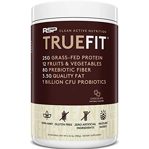 RSP TRUEFIT - Protein Powder Meal Replacement Shake, Grass-Fed, Organic Real Food, Probiotics, MCT Oil, Non-GMO, Gluten Free, No Artificial Sweeteners, 2 LB Chocolate