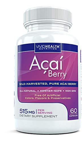 All Natural Acai Berry Capsules   Pure Fat Burner Acai Extract Supplement for Diet, Weight Loss and Detox   Loaded with Antioxidants, Non GMO and Wild Harvested from Brazil, 515mg, 60 Capsules