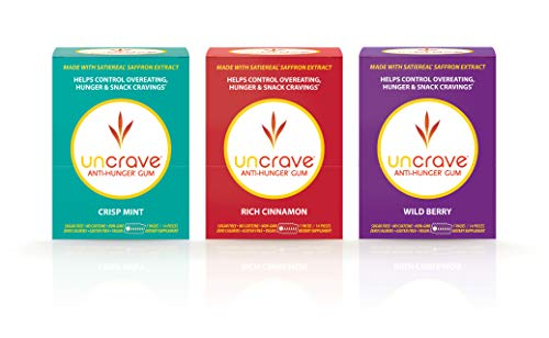 UnCrave Anti-Hunger Gum with Patented Satiereal Saffron Extract | Natural Appetite Suppressant for Healthy Weight Loss | Crisp Mint Flavor, 1-Week Supply (Single Box)
