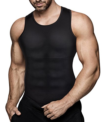 Mens Compression Shirt Slimming Body Shaper Vest Workout Tank Tops Abs Abdomen Undershirts(Black, XL)
