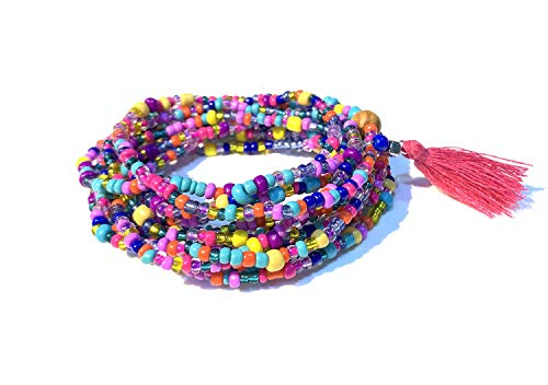 Althrorry Waist Beads, Beaded Wrap Bracelet, Colorful Belly Beads, Bead Jewelry, Belly Chains, Waist Chain 87 Inches