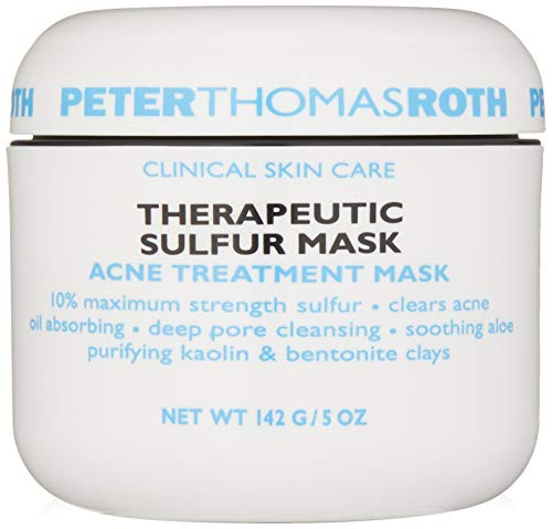 Therapeutic Sulfur Acne Treatment Mask, Maximum-Strength Sulfur Mask for Acne, Clears Up and Helps Prevent Acne Blemishes, Oil Absorbing and Pore Cleansing