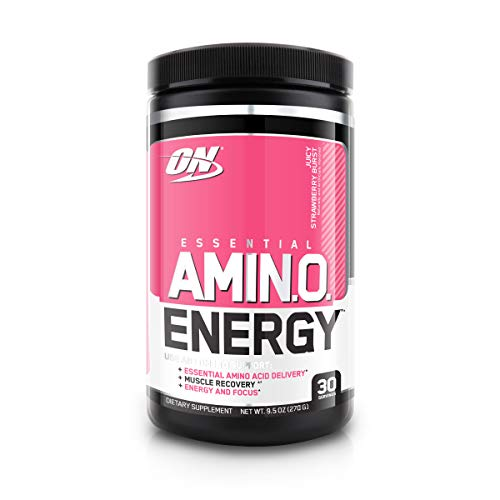 Optimum Nutrition Amino Energy with Green Tea and Green Coffee Extract, Flavor: Juicy Strawberry Burst, 30 Serving