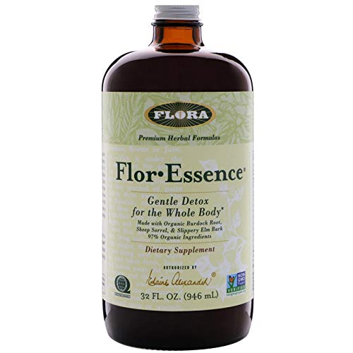 Flor Essence Detox Tea Cleanse - 32 Oz LARGE - 16 Day Gentle Herbal Cleanse Laxative Free - All Natural with 90% Organic Ingredients - by Flora, Brown Glass Bottle