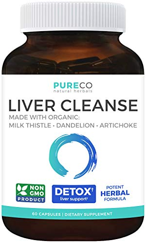 Pure Co Organic Liver Cleanse & Detox (Vegan) Organic: Milk Thistle Extract (80% Silymarin), Dandelion Root, Artichoke Leaf & Yellow Dock - NON GMO - Rescue Support Formula - 60 Capsules (No Pills)