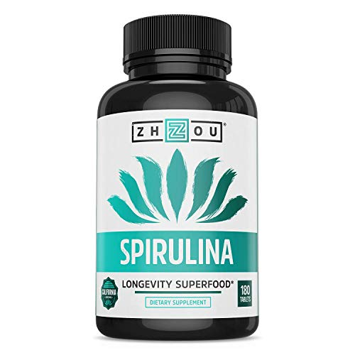 Non-GMO Spirulina Tablets, Highest Quality Spirulina on Earth, Sustainably Grown in California without Pesticides, 500mg in Each Small Tablet, 180 Count