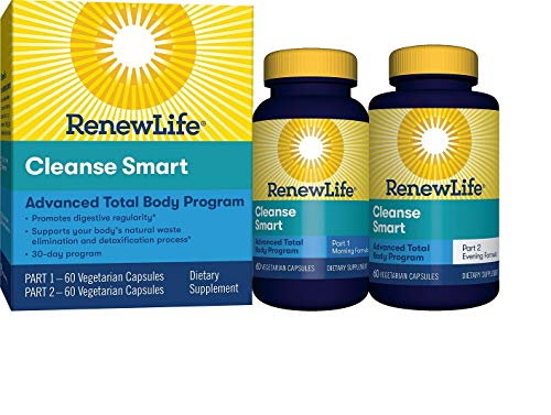 Renew Life - Cleanse Smart Total Body Cleanse - eliminate toxins and cleanse supplement - 120 vegetable capsules - 30 day program