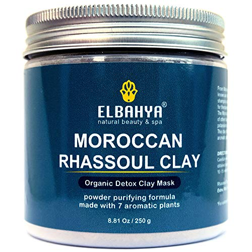 Organic Rhassoul Detox Clay Hair & Face Cleanser - Vegan Certified, Cruelty-Free, Organic & Eco Friendly Moroccan Ghassoul Powder. All Natural Deep Pore Cleanser, Conditioner & Pore Minimiser