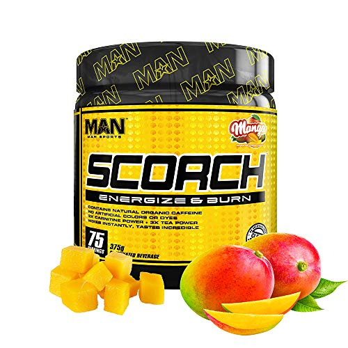 Man Sports Scorch - Fat Burning Powder for Men and Women - Hunger Suppressant - Weight Loss Supplement - 375 Grams, 75 Servings - Mango
