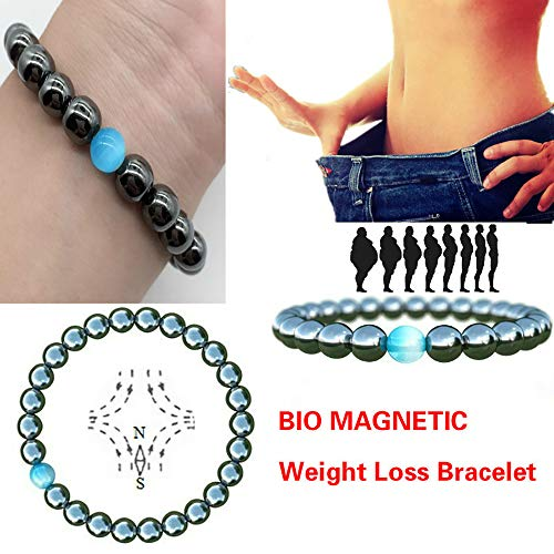 4 Pcs Magnet Health Magnetic Bracelets Jewelry for Women Man Weight Loss Bangles,8mm Hand-Knitted Blue Natural Stone Health Care Jewelry