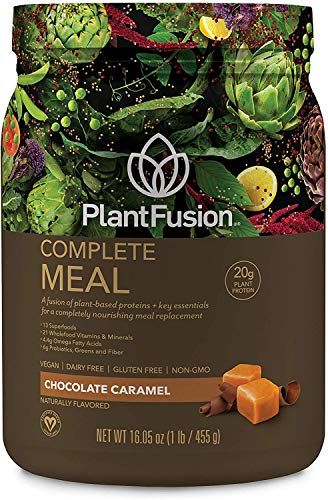 PlantFusion Complete Meal Plant Based Pea Protein Powder | Meal Replacement Shake | Dietary Supplement | Nutritional Drink | Vegan, Gluten Free, Non-Dairy, No Sugar, Non-GMO, Chocolate Caramel, 1 LB