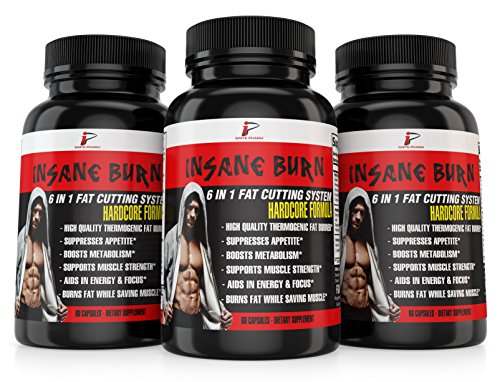 Insane Burn Fat Burner: Fast Fat Burner for Men Supplements Weight Management Muscle Preserving Thermogenic, Appetite Suppressant, Boost Energy, Mental Focus, L-Carnitine, Green Tea, Yohimbe, 60 Caps