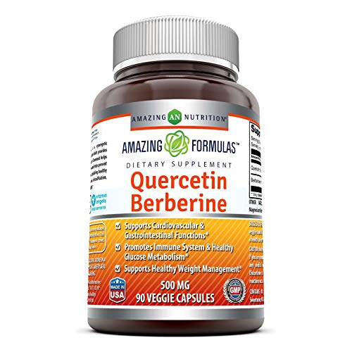 Amazing Formulas Quercetin Berberine - 250mg Berberine and 250mg Quercetin (Non-GMO,Gluten Free) -Potent Anti-oxidant Properties -Supports Heart Health, Energy Production, Immune Function (90 Count)