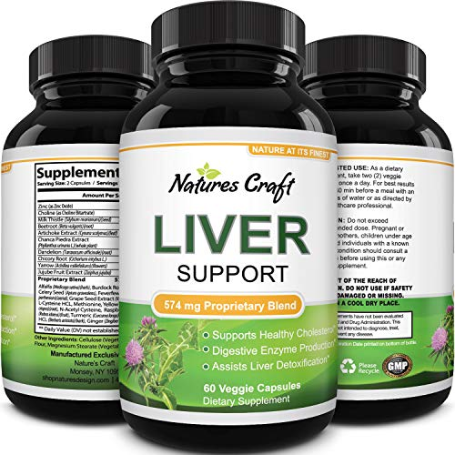 Natures Craft's Natural Liver Support Immune Support with Zinchelps with Weight Loss For Men & Women – Milk Thistle + Dandel ion + Artichoke Complex – Detox Cleanse Vitamins Boost Metabolism 60 caps