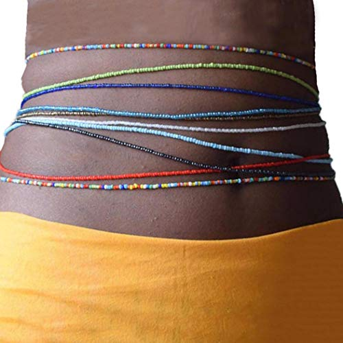 Victray Beads Waist Chains Layered Belly Beaded Body Chain Elastic Beach Waist Jewelry Rave Fashion Body Accessory for Women and Girls (Pack of 10)