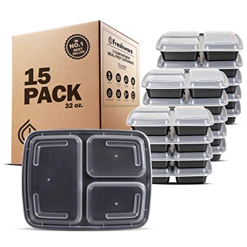 Freshware Meal Prep Containers [15 Pack] 3 Compartment with Lids, Food Containers, Lunch Box   BPA Free   Stackable   Bento Box, Microwave/Dishwasher/Freezer Safe, Portion Control, 21 day fix (32 oz)