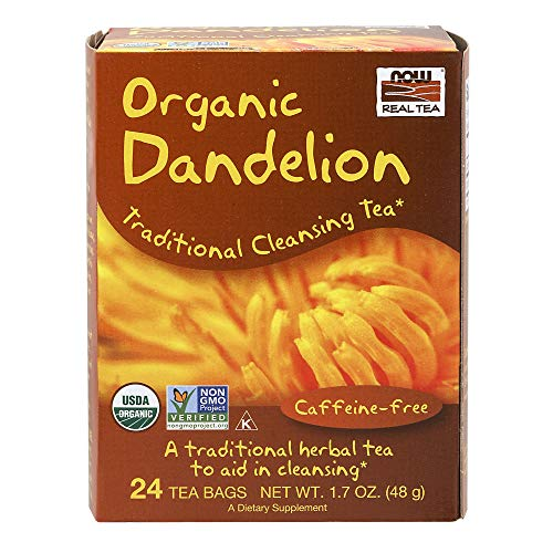 NOW Foods, Certified Organic Dandelion Traditional Cleansing Herbal Tea, Caffeine-Free, Non-GMO, Premium Unbleached Tea Bags with No-Staples Design, 24-Count