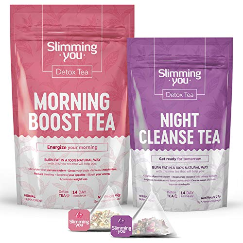 Detox Tea for Weight Loss and Belly Fat, 14 Day Slim Tea for Body Detox, Colon Cleanse, and Metabolism Increase - Lose Weight Tea 1 Daytime Tea(14 Bags) & 1 Evening Tea(7 Bags)