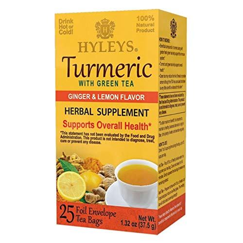 Hyleys Wellness Turmeric with Green Tea Ginger and Lemon Flavor - 25 Tea Bags - (100% Natural, Sugar Free, Gluten Free and Non-GMO)