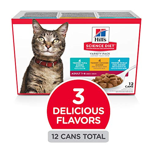 Hill's Science Diet Canned Wet Cat Food, Adult, Tender Chunks & Gravy Recipes, 5.5 oz Cans