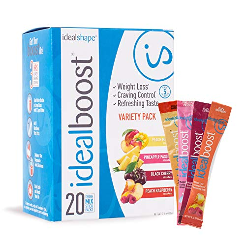 IdealBoost, Weight Loss Drink Mix Packets, Variety Pack, w/Hunger Blocking and Energy Blends, 20 Servings…