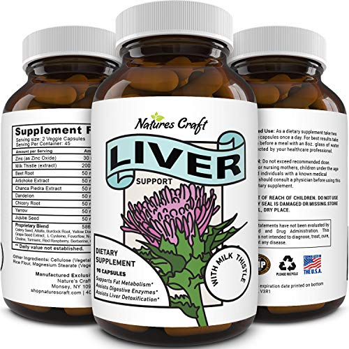 Best Liver Supplements with Milk Thistle - Artichoke - Dandelion Root Support Healthy Liver Function for Men and Women Natural Detox Cleanse Capsules Boost Immune System Relief - (90 Caps)
