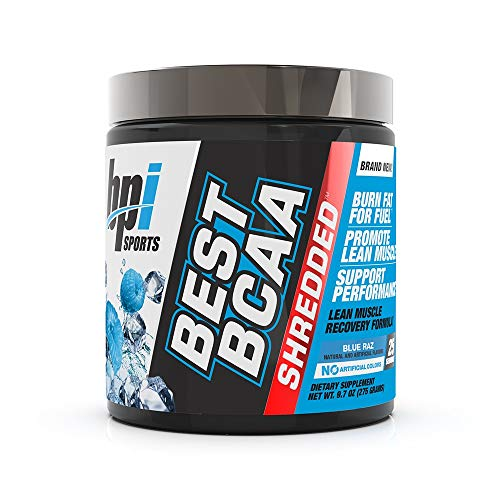 BPI Sports Best BCAA Shredded - Caffeine-Free Thermogenic Recovery Formula - BCAA Powder - Lean Muscle Building - Accelerated Recovery - Weight Loss - Hydration - Blue Raz - 25 Servings - 9.7 oz.