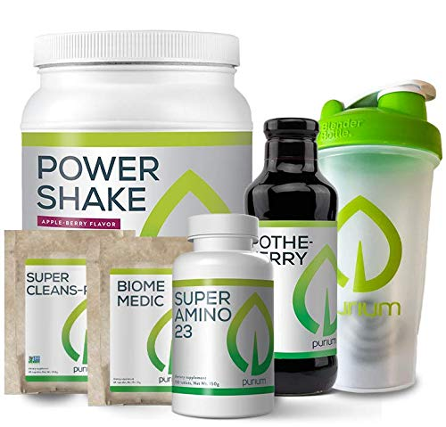 Purium 10 Day Transformation Cleansing - Complete Detox & Cleanse Kit, Supports Digestive Health, Weight Loss, Energy, & Sleep - Includes Blender Bottle & Tape Measure