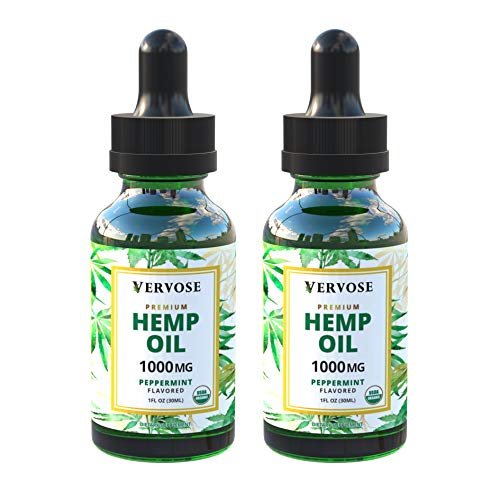 Vervose | Organic Hemp Oil 1000mg (2 Pack) | Anxiety Relief, Sleep Aid, Inflammation and Weight Loss | All Natural | Vegan | Made in The USA (1000mg)