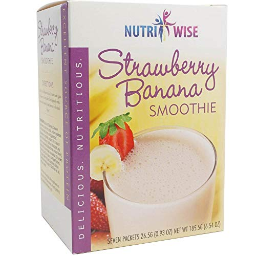 NutriWise - Strawberry & Banana Smoothie | Healthy Delicious Beverage | High Protein, Fat Free, Low Carb, Low Calorie, (7/Box)