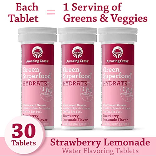 Amazing Grass Effervescent Electrolyte Tablets: Greens + Hydration Water Flavoring Tablet with Vitamins, Strawberry Lemonade, 30 Count