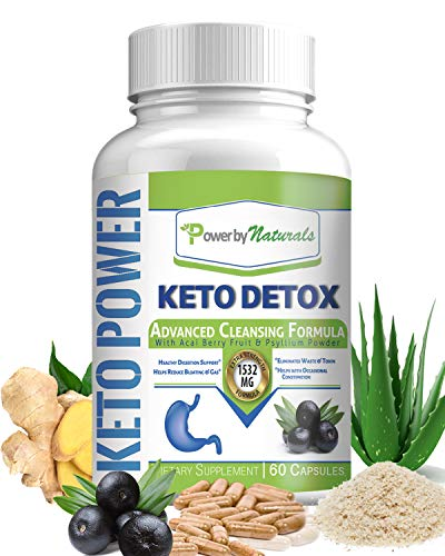 Power by Naturals - Keto Detox Cleanse Weight Loss - Advanced Colon Cleanser, 1532 Mg Natural Cleansing Supplement for Digestion, Gas, Bloating Relief, and Regularity - Safe - Gentle - 60 Keto Pills