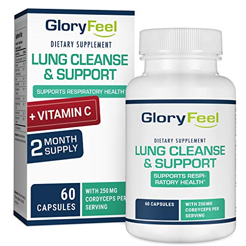 Gloryfeel Lung Cleanse Support Supplement with Vitamin C - Respiratory Support - Helps to Quit Smoking & Supports Respiratory Health - Lung Support, with Vitamins, enzymes & Herbs