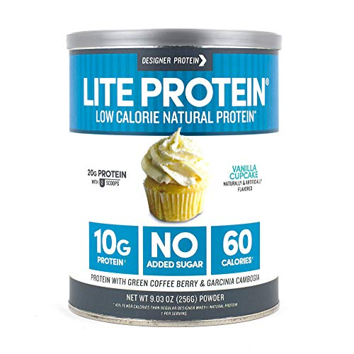 Designer Protein LITE, Low Calorie Natural Protein, Vanilla Cupcake, 9.03 Ounce,  Made in the USA