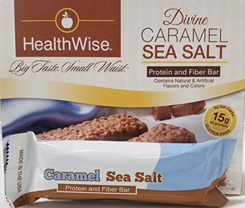 Healthwise - Divine Caramel and Sea Salt | Gluten Free Diet Snack Bars | Hunger Control and Appetite Suppressant High Protein, Low Fat, Chol Free, Low Net Carbs, High Fiber (7 Bars)