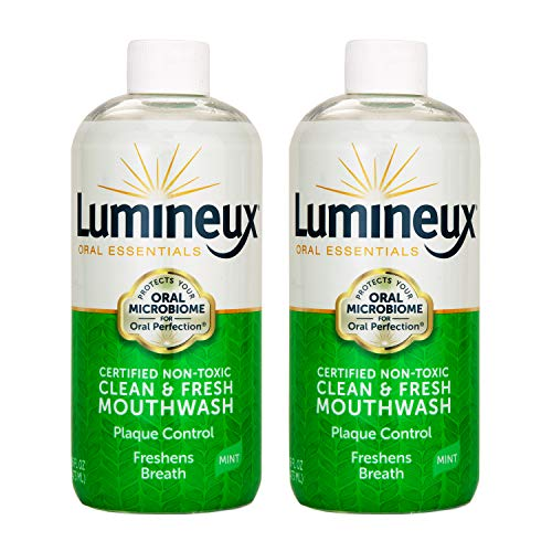 Lumineux Oral Essentials Mouthwash - 2 Pack - Fresh Breath - Certified Non Toxic | Fresh Breath in 14 Days w/o Sensitivity | Fluoride Free | NO Alcohol, Artificial Colors, SLS Free, Dentist Formulated