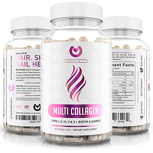 Collagen Peptides Pills - Types I,II,III,V & X with Biotin & Hyaluronic Acid – Supports Anti-Aging, Healthy Hair, Skin, Bones & Nails - Keto & Paleo Friendly Hydrolyzed Protein – 90ct.