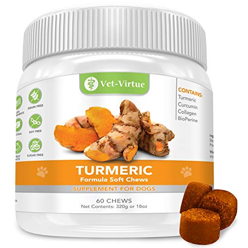 VET-VIRTUE Turmeric for Dogs- Organic Turmeric with Curcumin, Dog Joint Supplement Soft Chew, Collagen and Bioprene, High Absorption Eliminates Joint Pain Inflammation