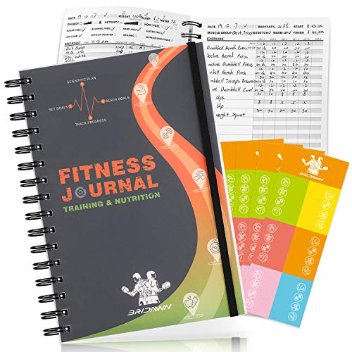bridawn Workout Nutrition Journal Fitness Planners 2 in 1 Log Book 12 Weeks Tracker with Waterproof Cover Elastic Strap Free Stickers for Daily Exercise and Food Tracking