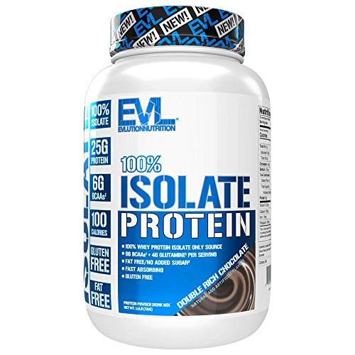 Evlution Nutrition 100% Isolate, Whey Isolate Protein Powder, 25 G of Fast Absorbing Protein, No Sugar Added, Low-Carb, Gluten-Free (Double Rich Chocolate, 1.6 LB)