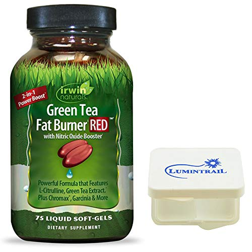 Irwin Naturals Green Tea Fat Burner RED Supplement with Nitric Oxide Booster - 75 Liquid Soft-Gels - Bundle with a Lumintrail Pill Case