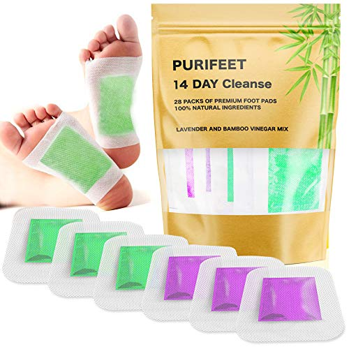 2 in 1 Foot Pads for Cleansing, Better Sleep, Stress Relieve, Increased Energy - 28 Premium Bamboo Vinegar and Lavender Patches - All Natural and Organic Ingredients, FDA Certified, Strongest Adhesive