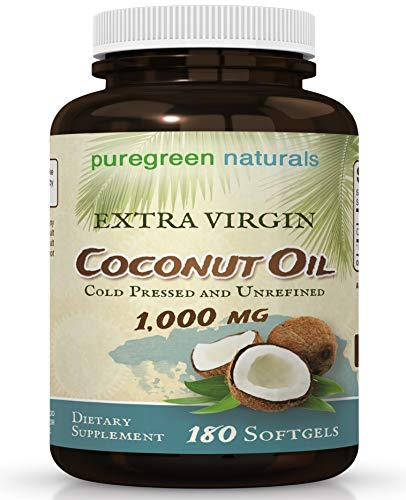 Coconut Oil Capsules - 1000 mg Extra Virgin - 180 Softgels - Great Pills for Energy, Weight Management, Hair, and Skin