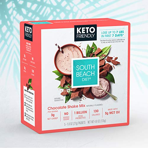 South Beach Diet Keto-Friendly Shake Mix, Chocolate (20 ct) - Delicious Shakes Made to Support Healthy Weight Loss & Your Keto Lifestyle
