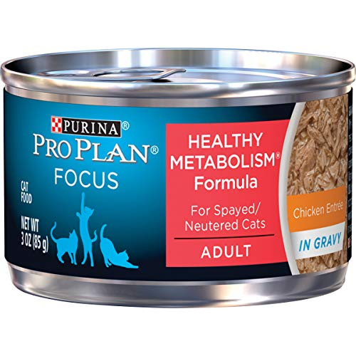 Purina Pro Plan High Protein Gravy Wet Cat Food, FOCUS Healthy Metabolism Formula Chicken Entree - (24) 3 oz. Pull-Top Cans (16040)
