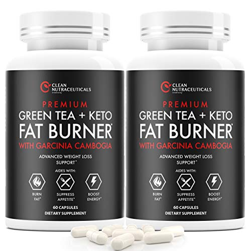 Green Tea Extract Supplement with Keto Pills EGCG - Belly Fat Pills That Work - 1200mg Capsules - Slim Stomach & Abdominal - Natural & Keto Diet Friendly Supplement for Men & Women 2 Bottles